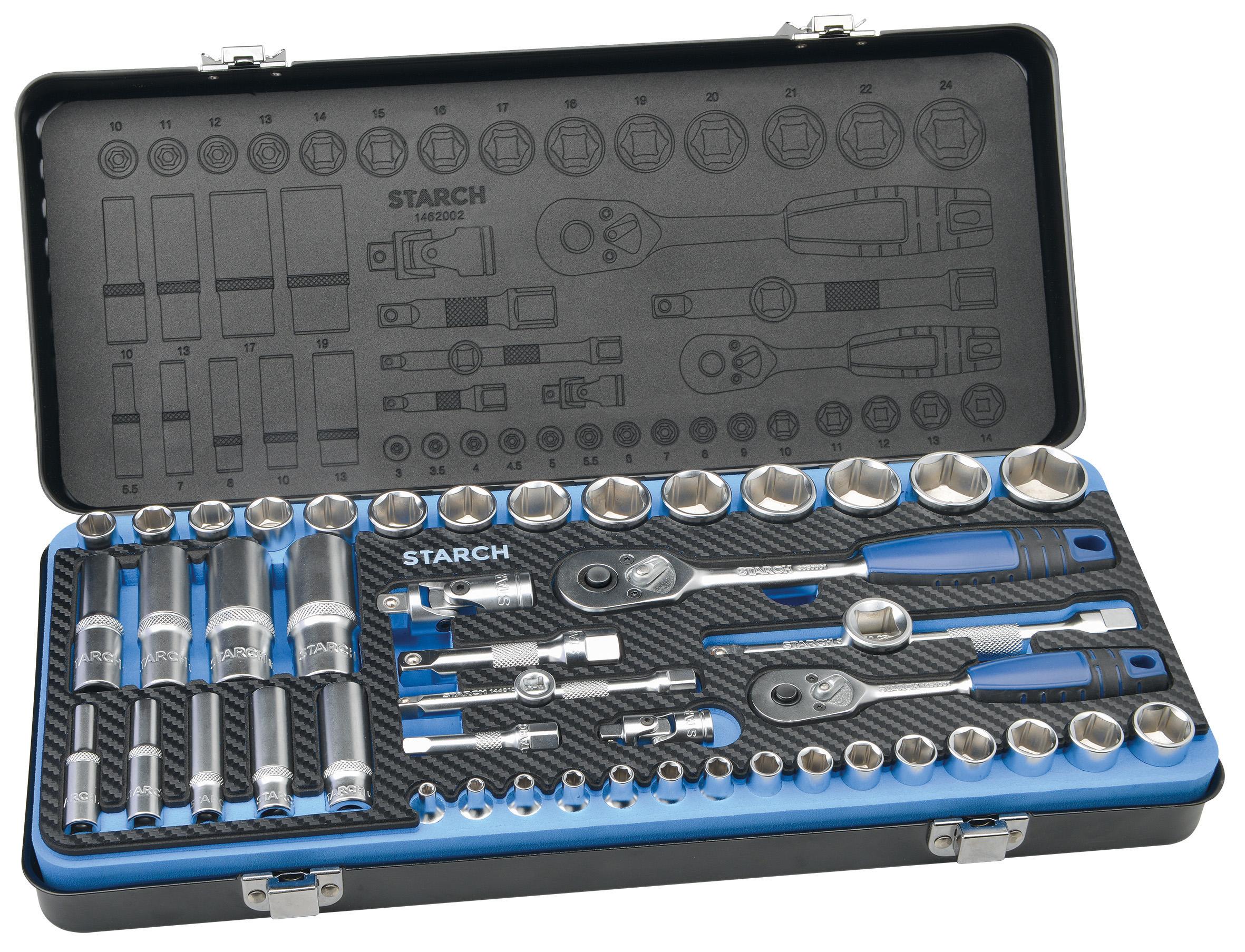 Steckschlüsselsatz 1/4 Zoll + 3/8 Zoll in Metallbox, 48-teilig Image