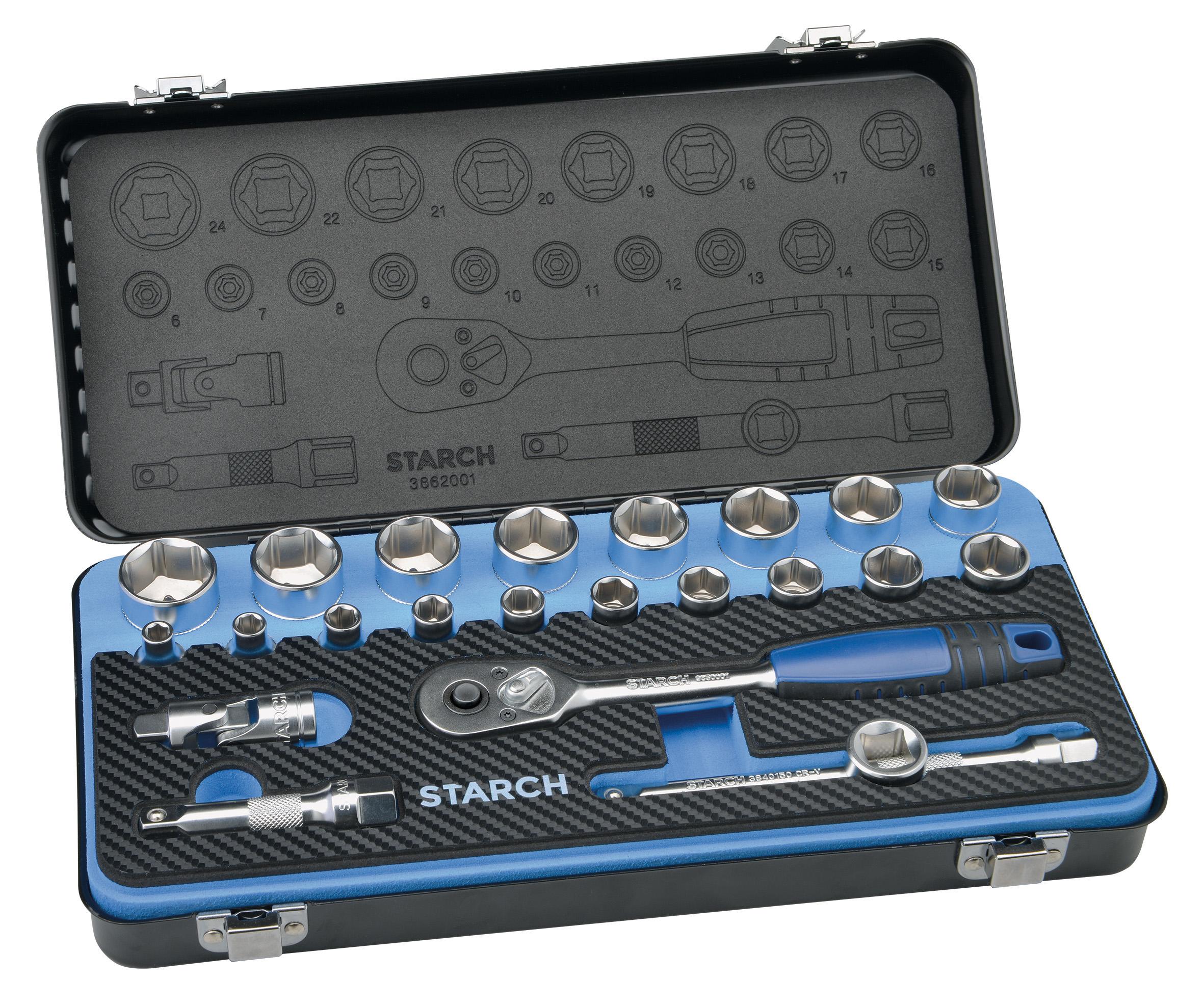 Steckschlüsselsatz 3/8 Zoll in Metallbox, 23-teilig Image