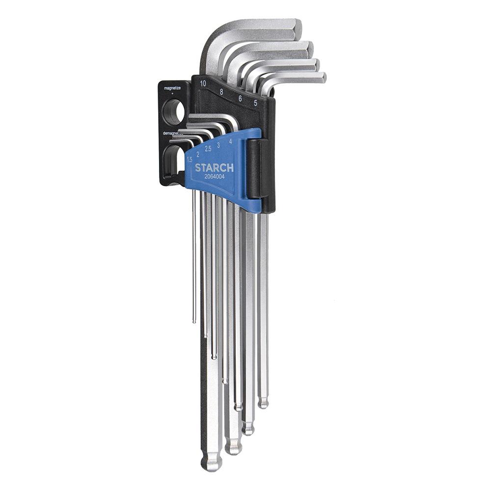 Stiftschlüsselsatz Inbus, lange Ausführung mit Kugelkopf und Magnetisierblock, 10-teilig Image